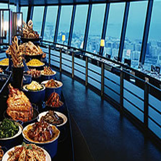預訂去澳門旅遊觀光塔360旋轉餐廳優惠下午茶自助餐來回香港澳門turbojet噴射飛航船票套票macau tower 360°café tea buffet package